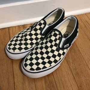 Vans Size 7 Black White Checked Slip Ons Shoes